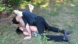 Petite teen sucked dick in a local forest and then got fucked from the back