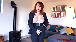 Red is a seductive, British mature who likes to suck cocks even while doing her job