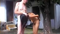 Skinny babe got tied up by an elderly man, because he likes to torture her