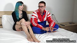 Tattooed girl with blue hair is in the mood for a hardcore fuck with her ex