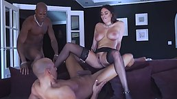 Anissa Kate is ready for a steamy, interracial threesome with two black guys with big cocks