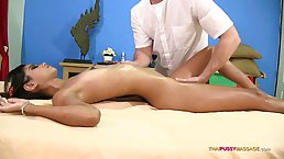 Small titted, Thai lady is about to have casual sex in a massage parlor, just for fun