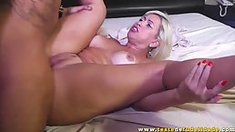 Horny, blonde milf with big tits is getting her daily dose of fuck in a hotel room