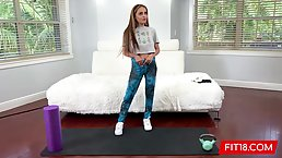 Petite Latin teen, Nola Exico is slowly taking off her workout clothes because she wants sex